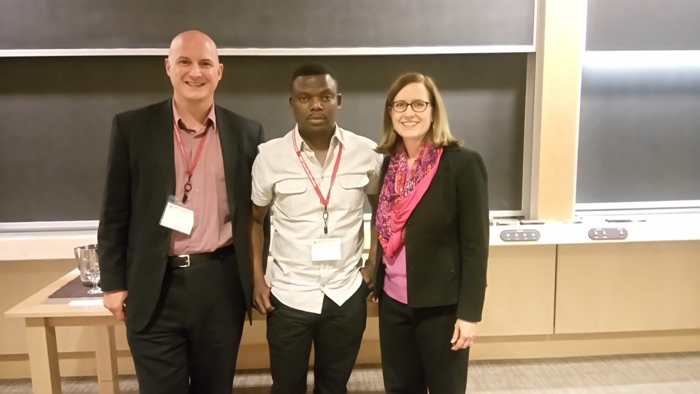 L-R: Director,  Center for Innovation and Productivity and Professor of Economics, University of New Brunswick, Canada,Yves Bourgeois; Convener,  Not in My Country Project, Akin Fadeyi  and Faculty Director, Public Policy Harvard Kennedy School, Madrian Brigette at the Behavioral Insights to Public Policy Design Course in Harvard, Boston MA