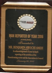 Amehnews Online Receives MAN Reporter Of The Year 2016 Award