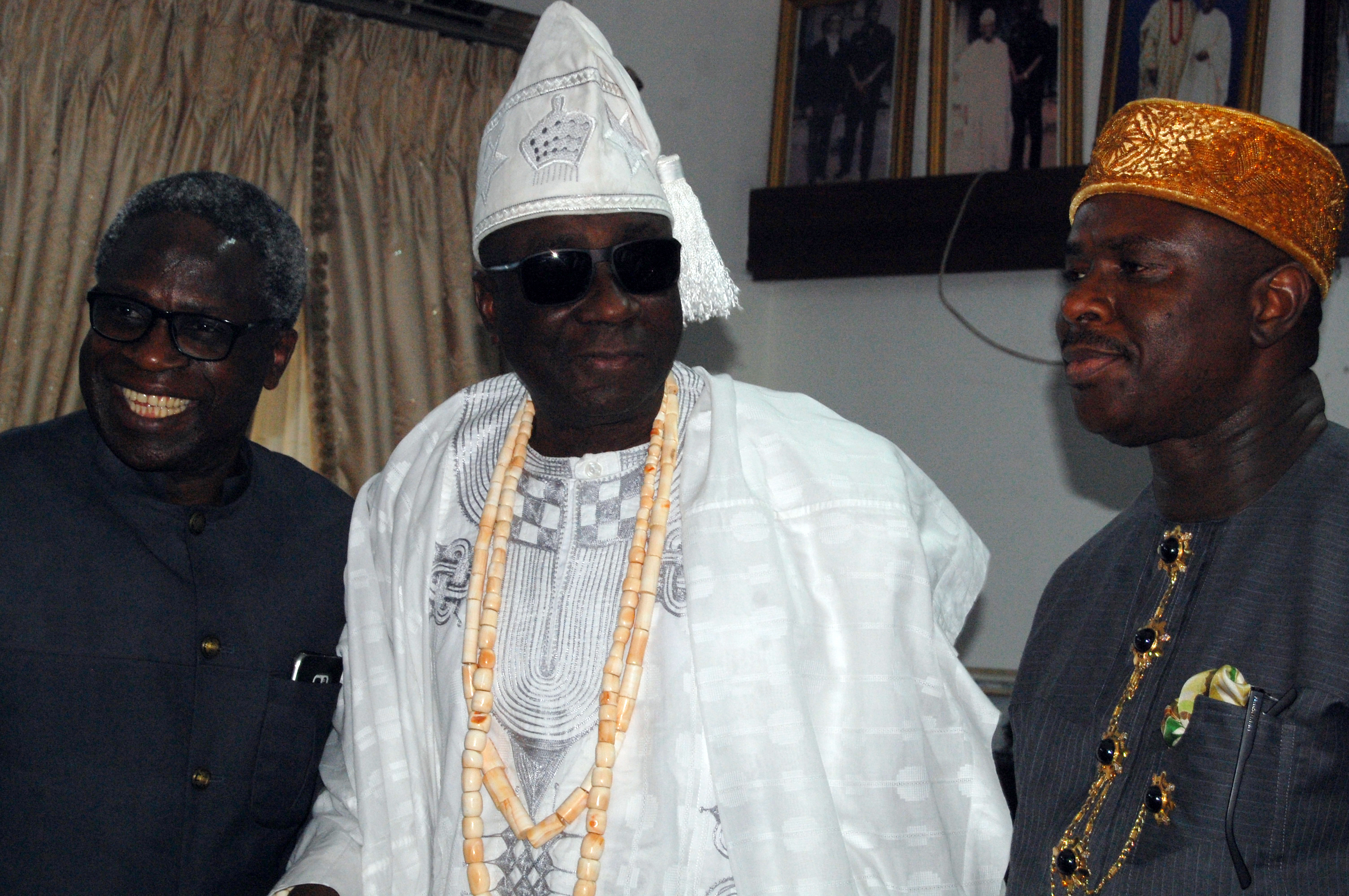 From Right, the Director General of the Nigerian Maritime Administration and Safety Agency (NIMASA) Dr. Dakuku Peterside, The Oba of Lagos, Oba Rilwan Akiolu and the Executive Director, Operations, NIMASA, Engr. Rotimi Fashakin during the visit of the NIMASA Management to the Oba's Palace in Lagos recently.