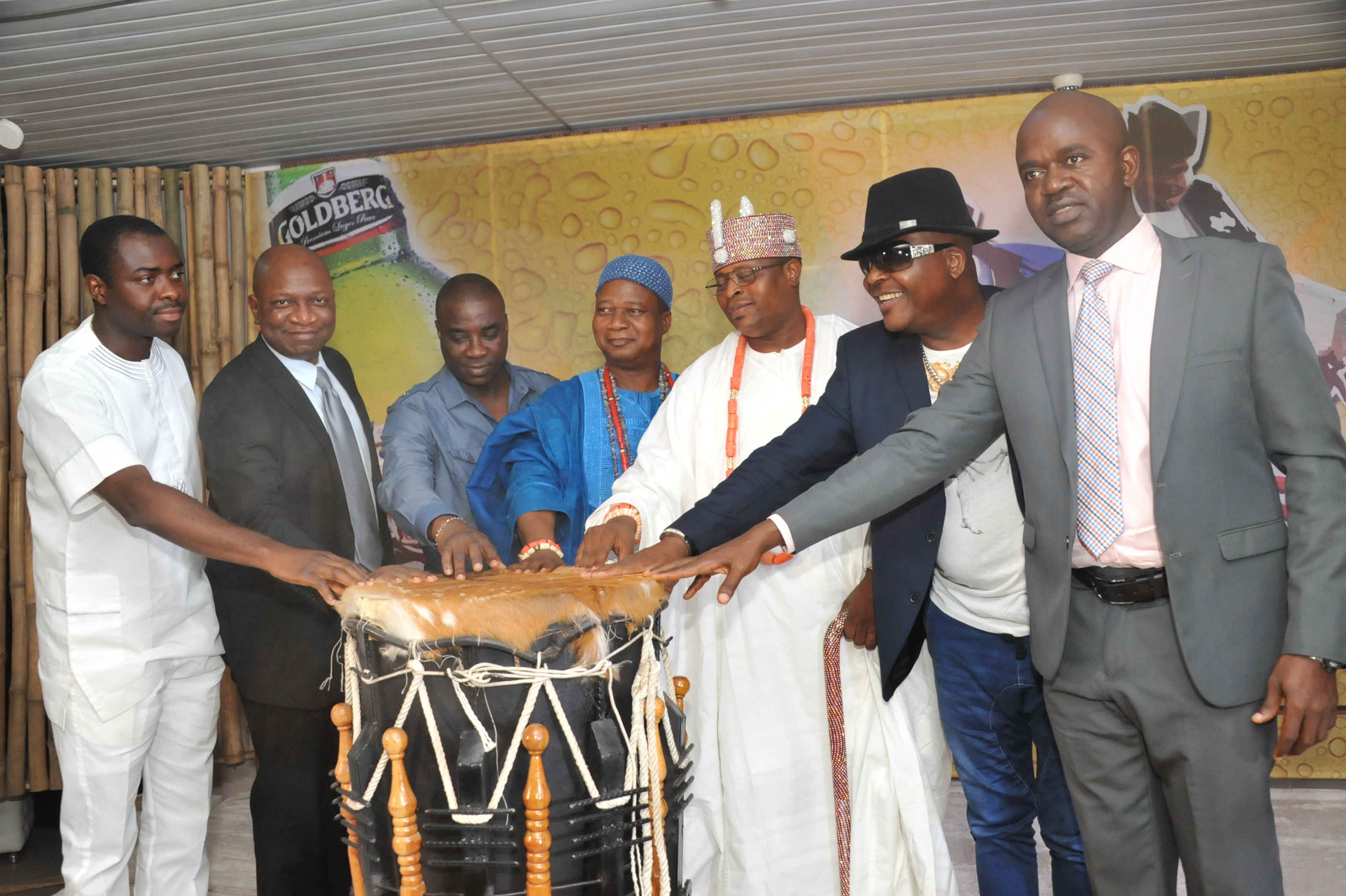 FROM LEFT TO RIGHT: Mr. Funso Ayeni, Senior Brand Manager, Regional Mainstream Brands, Nigerian Breweries; Patrick Olowokere, Corporate Communications/Brands Manager, Nigerian Breweries; King Wasiu Ayinde Marshall, a prominent Fuji Musician; His Royal Highness Oba Babatunde Adetokunbo Awosunle; His Royal Highness, Oba Adebinni  Asoya, who represented the Ooni of Ife, Oba Babatunde Enitan Ogunwusi; Sir Shina Peters, a prominent Juju Musician and Mr. Emma Agu, Portfolio Manager, Regional Mainstream and Stout Brand, Nigerian Breweries at the first Goldberg music roundtable in Lagos on Wednesday.