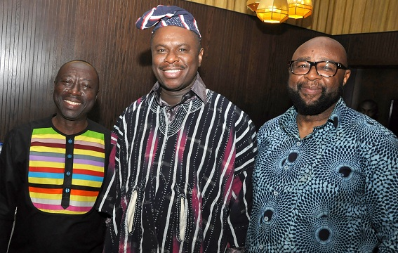 L-R: Director General of the Ghana Maritime Authority, Kwame Owusu, Director-General of the Nigerian Maritime Administration and Safety Agency (NIMASA), Dr. Dakuku Peterside and the International Maritime Organisation (IMO) Head, Africa Section, Technical Cooperation Division, Mr. William Azuh at the Post-Transport Policy Workshop Dinner held in Lagos, Nigeria.