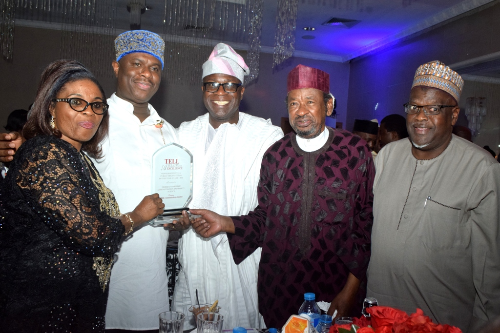 """Director General, Nigerian Maritime Administration and Safety Agency (NIMASA) Dr. Dakuku Peterside in a photograph with some members of the NIMASA Board during the Tell Awards of Excellence, 2016, held at the Civic Centre, Victoria Island, Lagos where NIMASA bagged """"Public Organisation of the Year""""."""
