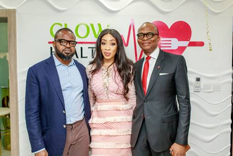 Pix 1: Managing Director, Chief Executive Officer, Blueprint Technologies Ltd., Saheed Alao; Chief Executive Officer and Founder, GLOW Health Enterprise, Adanna Monde, and Group Managing Director, Chief Executive Officer, United Bank for Africa Plc, Kennedy Uzoka at the official launch of GLOW Health in Lagos, recently