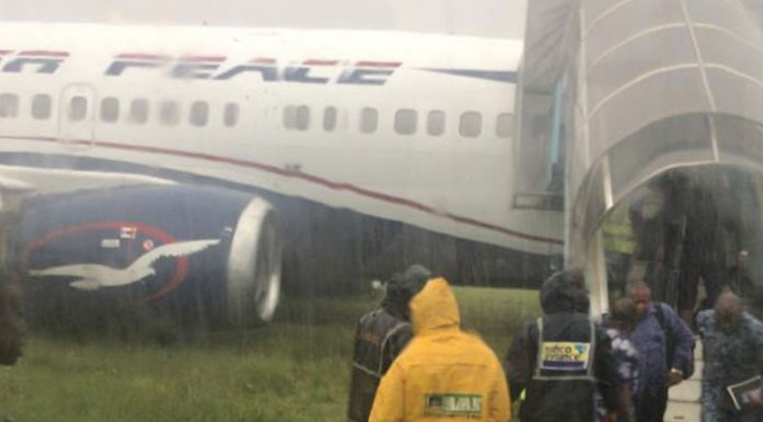 Air Peace Flight off Runway at PH Airport due to water flooding
